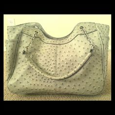 """Faux Ostrich Gray tote bag SOLD!! Host Pick Best in Bags 11/16 ~~final reduction~~  15"""" x 9.5"""" grey tote bag, purchased for $75.00 last year. Too large for me and was used only a few times. In brand new condition, still have price tag. Faux ostrich leather. #ostrich #ostrichbag #fauxostrich #greyhandbag #grayhandbag EC Ellington Bags"""