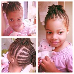 Kid natural hair style - flat twists - ponytails