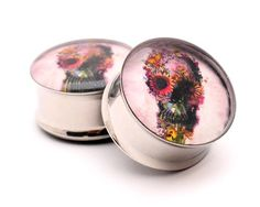 "Flower Skull Picture Plugs - 5/8"" - 16mm"