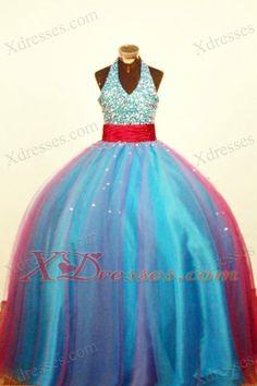 Multi-color Halter Little Girl Pageant Dress