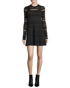 Long-Sleeve+Lace+Skater+Dress,+Darkest+Black+by+McQ+Alexander+McQueen+at+Neiman+Marcus.