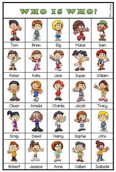 """""""Vem är vem?"""" på engelska. Spelbricka, kort, ordlista och spelregler. Peanuts Comics"""