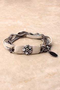 Ivory Leather Billie Bracelet on Emma Stine Limited