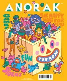 Loving the cover for Anorak Magazine TOYS issue Graphic Design Illustration, Digital Illustration, Graphic Illustration, Design Poster, Design Art, Kids Graphic Design, Magazine Design, Cover Design, Comics Vintage