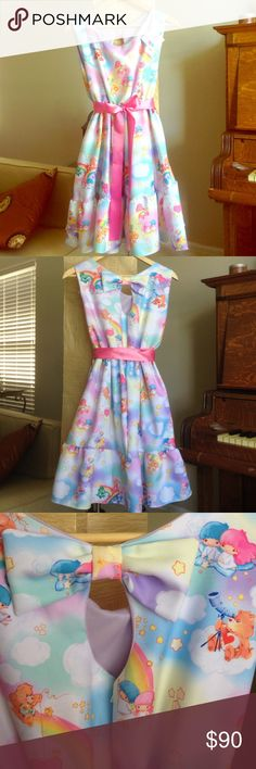 Little Twin Stars and CareBears juniors dress New with tags. Sanrio Little Twin Stars and CareBears size Medium dress. This dress is adorable but unfortunately too small for me. Made of thick fabric. Features a ruffled skirt peephole back with bow. Sanrio Dresses