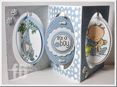 It's A Boy! created by Frances Byrne using Accordion Oval Card; Oval Dots Frame Edges; Accordion Circle Card – designed by Karen Burniston for Elizabeth Craft Designs. Images by Lili of the Valley