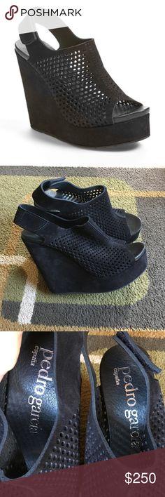 "Pedro Garcia slingback wedge shoes❤️ Style is ""Tonya"" ❤️ leather peep toe slingback wedge ❤️ made in Spain ❤️ front platform measures approx 1.5"" ❤️ heel measures 5"" ❤️ Pedro Garcia Shoes Wedges"