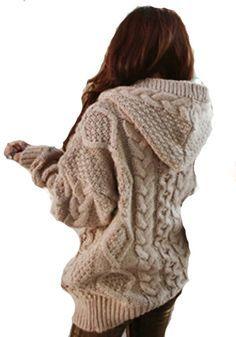 Khaki Geometric Collar With Hat Loose Wool Cardigans...this is sooo cute & looks WARM!!