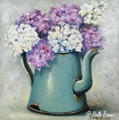Stella Bruwer aqua enamel coffee pot with light purple and white flowers- Art Floral, Deco Floral, Tole Painting, Painting & Drawing, Watercolor Flowers, Watercolor Paintings, Purple And White Flowers, Light Purple, Patchwork Quilting
