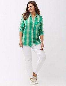 a9677afa34e Plaid boyfriend shirt Plaid Shirt Outfits