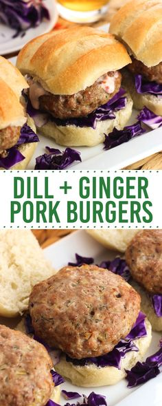 Juicy dill and ginger pork burgers are flavored with simple ingredients for a bold and balanced taste. These burgers can be grilled or baked in the oven.