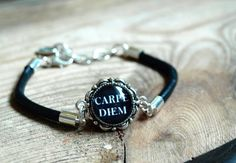 Carpe diem bracelet, Quote bracelet, Inspiration Bracelet,leather thong bracelet,glass dome bracelet,black and white bracelet,small bracelet