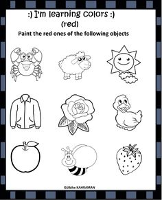 Learning Colors, Red Paint, Coloring Sheets, Red Color, Worksheets, Preschool, Objects, Success, English