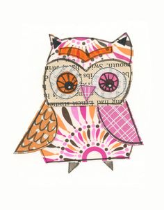 Brittany - 5x7 collage owl - LIL ART CARD matted giclee print, owl, collage, Susan Black. $14.00, via Etsy.
