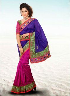 Melodic Magenta & Royal Blue Embroidered #Saree  #clothing #fashion #womenwear #womenapparel #ethnicwear