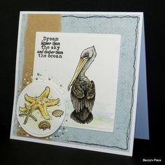pelican seaside card by Beccy Muir Octopus Images, Strongest Glue, Owl Punch, Stippling, Copic Markers, Digital Stamps, Clear Stamps, Watercolor Paper, Digital Image