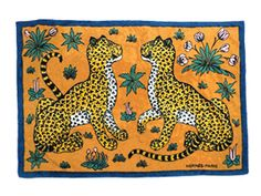HERMES-Auth-Beach-Towels-Mat-Orange-Leopard-Pattern-Cotton-Pile-F-S-Mint-0023