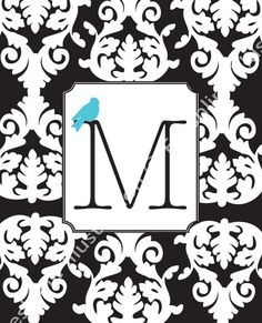 Black and White Letter with Blue Bird Monogram Initial 8x10 Print by Freshline on Etsy. Possible branding similar to this??