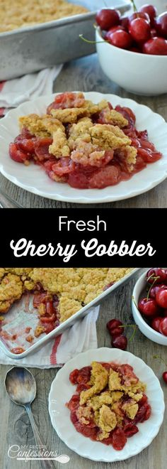Fresh Cherry Cobbler is the best cobbler EVER! This recipe is easy to make and tastes just like the old fashioned cherry cobbler your grandma use to make. The made from scratch cherry filling tastes a hundred times better than any can filling!