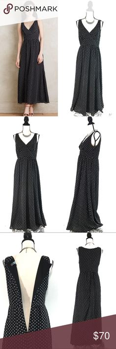 "Eva Franco Black Clipdot Maxi Dress Anthropologie Eva Franco Women's Black Clipdot Maxi Dress by Anthropologie   Size 10P (Women's Large)  * Like new! Never worn. No tags attached. In pristine condition! * Black with white woven dots * Maxi dress style * Polyester; polyester lining * Textured clipdot detail * Back zip * Dry clean * Made in USA * Style No. 4130210696308   Dimensions * Length 51"" * Arm opening 9"" * Bust 35"" * V-Neck length 11"" * Waist 32"" * Hips 56"" * Model is 5'10"" Eva Franco…"