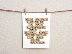 Alphabet Love 100 Recycled Greeting Card by WanderDesign on Etsy, $3.00