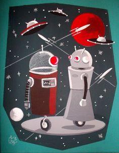 EL GATO GOMEZ PAINTING RETRO SCI-FI OUTER SPACE PULP ROBOT ROCKET MARTIAN 1950'S #Modernism