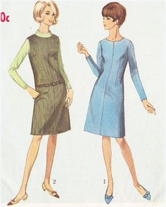 Simplicity 6652; 1966; Dress or jumper with lowered round neckline has back zipper closing. Button trimmed dress V. 1 fitted with waistline