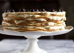 amazing crepe cake filled with a rich, thick coffee pastry cream folded with whip cream Churros, Tortas Deli, Thousand Layer Cake, Chilean Recipes, French Cake, Crepe Cake, Crepe Recipes, Non Stick Pan, Recipe Images