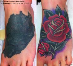 Quite possibly the best tattoo cover up I've ever seen. Rose cover up tattoo by Tim Beck. Tribal Tattoo Cover Up, Rose Tattoo Cover Up, Black Tattoo Cover Up, Solid Black Tattoo, Ankle Tattoo Cover Up, Black Rose Tattoo Coverup, Big Cover Up Tattoos, Tattoo Cover Ups, Black Cover