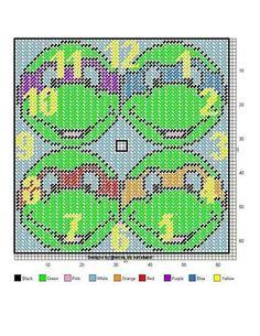 ninja turtle clock for kaitlyn Plastic Canvas Crafts, Plastic Canvas Patterns, Needlepoint Patterns, Cross Stitch Patterns, Hama Disney, Disney Clock, Stitch Cartoon, Cross Stitch Boards, Tissue Box Covers