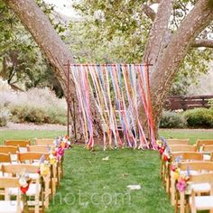 wedding decorations outdoor ideas image ribbon on a string | Colorful Outdoor Wedding in Pacific Palisades, CA