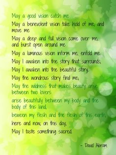 May a good vision catch me. David Abram Prayer