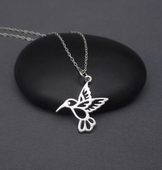 Hummingbird Necklace Sterling Silver 925 Small Hummingbird Pendant Charm by themoonflowerstudio on Etsy https://www.etsy.com/listing/240813540/hummingbird-necklace-sterling-silver-925