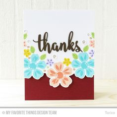 Flashy Florals Stamp Set and Die-namics, Scatter Surface Background, Thank & Hello Die-namics - Torico  #mftstamps