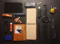 This guy's #EDC features a custom-made leather wallet/cover for our #RiteintheRain pocket notebook.
