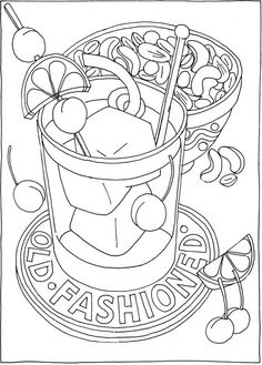 Welcome to Dover Publications - CH Happy Hour Food Coloring Pages, Dog Coloring Page, Printable Coloring, Coloring Pages For Kids, Coloring Sheets, Coloring Books, Surreal Artwork, Bullet Journal Art, Penny Black