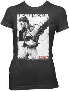 This ladies' George Michael t-shirt features a black and white still photograph of George from his music video for Faith. Released in 1987, on George Michael's solo debut album of the same name, Faith