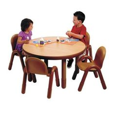 Angeles Round Baseline Preschool Table and Chair Set in Natural $287 WALMART