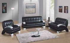 Modern Black Living Room Furniture 22 (Modern Black Living Room Furniture design ideas and photos Leather Living Room Furniture, Room Furniture Design, Furniture Sets, Adams Furniture, Black Furniture, Paint Furniture, Furniture Styles, Chair Design, Sofa Set Designs