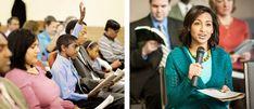 Um menino levanta a mão no estudo de A Sentinela; uma irmã comenta no estudo de A Sentinela