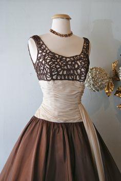 1950's Coffee and Cream Dress