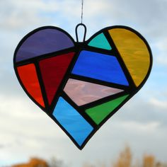 Abstract Stained Glass (Love Heart) in a mixture of colourful water glass by neilsglass on Etsy