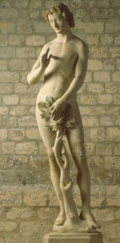 Adam Paris, vers 1260 Pierre polychrome H. 2 Notre-Dame de Paris Cl. 11657 Cette statue est l'un des chefs-d'oeuvre de la sculpture gothique. Adam se trouvait à l'origine au revers du bras sud du transept, en pendant à une statue d'Eve. Toutes deux encadraient la figure du Christ du Jugement dernier. La statue d'Adam garde une incroyable fraîcheur malgré quelques restaurations. Chef D Oeuvre, Stone Sculpture, Statue, Middle Ages, Les Oeuvres, Renaissance, Medieval, Revers, Chefs