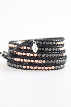 Black Leather Wrap Bracelet - Gold, Rose Gold Vermeil, Sterling Silver, Gold Clusters, Bronze, Gunmetal, FREE SHIPPING - Talulah Lee. $115.00, via Etsy.