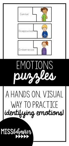 Emotions puzzles with words AND visuals to include hands-on practice to teaching emotion identification! Teaching Emotions, Feelings Activities, Calming Activities, Teaching Social Skills, Social Emotional Learning, Feelings And Emotions, Emotional Regulation, Skills To Learn