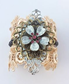 Steampunk Cuff - Victorian Elegance Brass Cuff  - $70.00 - Handmade Jewelry, Crafts and Unique Gifts by Steampunk Beadery