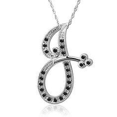 14k White Gold Alphabet Initial Letter J Black Diamond Pendant Necklace-0.12 carat Diamond Delight. $399.99. Save 38% Off!