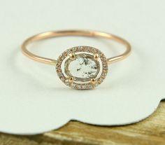 Rose Cut Diamond Slice Ring, Rose Gold Diamond Ring, Yellow Gold Diamond Ring, Engagement Ring In 14K Gold Wth Diamond Slice.