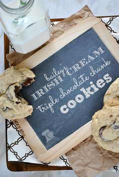Celebrate St. Patty's day with the new #cookie in town: #Irish Cream Triple Chocolate Chunk Cookies from www.somethingswanky.com