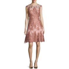 Kay Unger New York Sleeveless Lace Tulle Cocktail Dress (2.100 BRL) ❤ liked on Polyvore